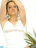 Innocent teen posing hot indoors showing her round big boobs
