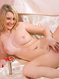 Amateur blonde babe tastes her sweet strawberry and spreads her delicious pussy wide open