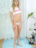Blonde amateur kirsten unveils her flawless body and gently caressing it