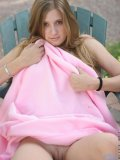 Barely legal 18yr teen covers her self with a pink blanket after getting naked
