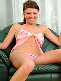 Malinka peels off slowly her shirt and thongs to shows some nice nude action
