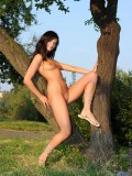 Outdoor Nubile Megane rubs her teen pussy against the tree trunk
