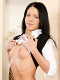 Long haired Mikka playing her Nubile pussy on top of the table after chatting over the net