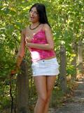Exhibitionist Nubile Monika Benz enjoys a forbidden public nudity in her village