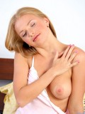 Hot chick with rose colored nipples peels off her undies then masturbates