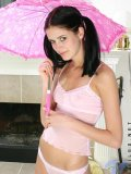 Look at cute hottie patricia with her umbrella and in her underwear so cute and teenie