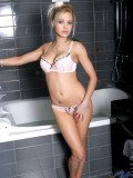 Wild and naked pearl gets soaking wet in the shower room