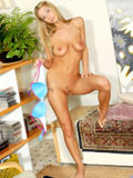 Long haired blonde teen takes off her undies and exposing naked body