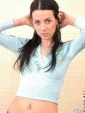 Daring amateur hottie goes topless thinking of stripping her denim skirt