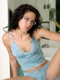 Tempting nubile skye softly squeezing her luscious tits on the bathtub