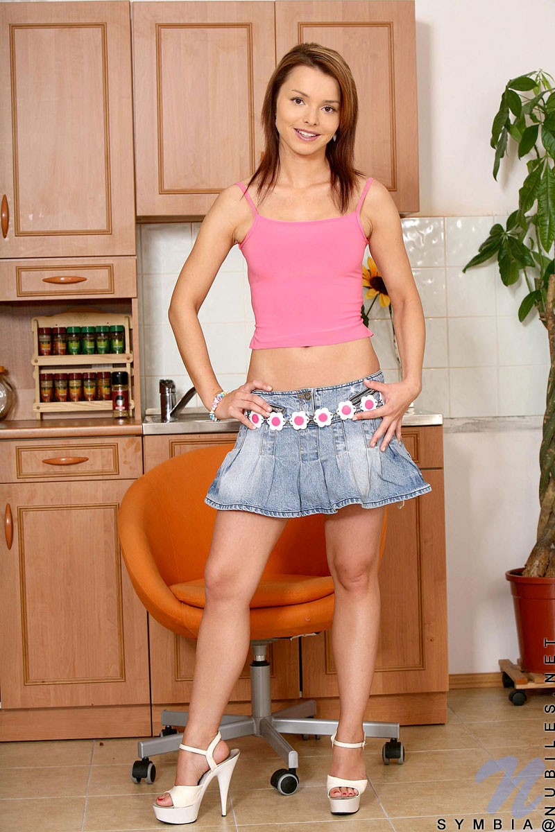 For that Pretty teen brunette kitchen posing have