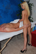 Gorgeous 18 year old blonde gives a sexy ´feel-good´ massage with release!