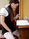 Stunning teen rubs her clit