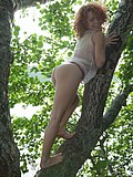 Forest nymph fingers her cunt