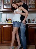 Nasty teen fucking in the kitchen