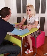 Blonde teen gets her snatch hard drilled and creamed