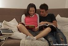 Teenage babe doing her homework