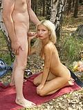 Blonde hottie works cock