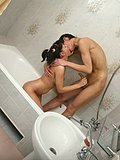 Brunette bath time fun