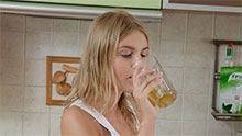 Delightful teen babe banged in the kitchen