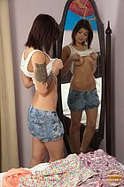 Sexy babe was trying on different outfits when her lad joined her