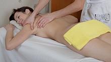 Cute hottie seduced by her masseur